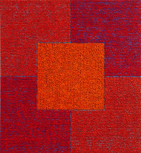 Louise P. Sloane, Red Red Orange Square, 2010, 50 x 46 inches, acrylic, medium o