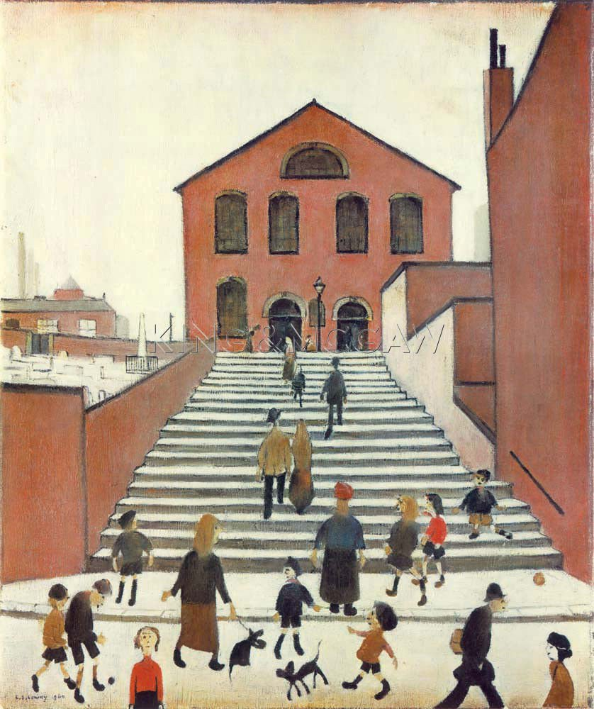 LS Lowry, Old Church and Steps, 1960