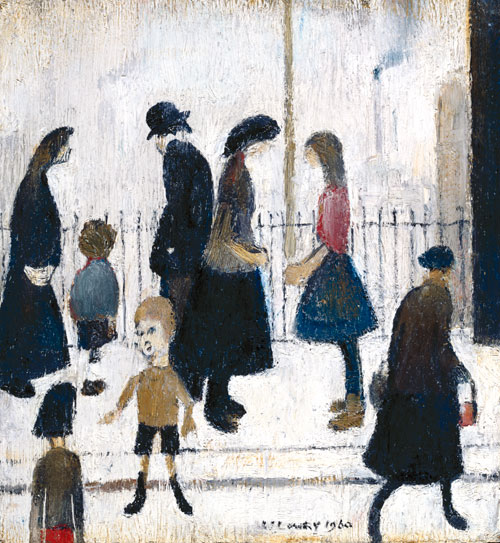 LS Lowry, Figures in a Street, 1960, oil on board (Royal Academy of Arts, London