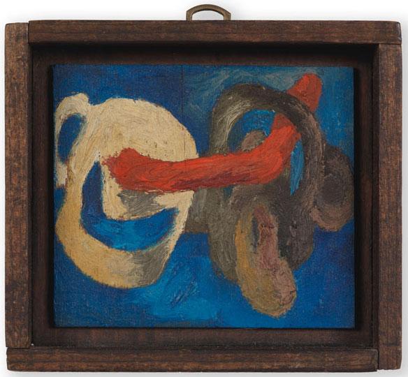 Lee Lozano, No title, c 1962. oil on board, 7 x 8.3 cm (© The Estate of Lee Lozano, courtesy the Estate and Hauser & Wirth)