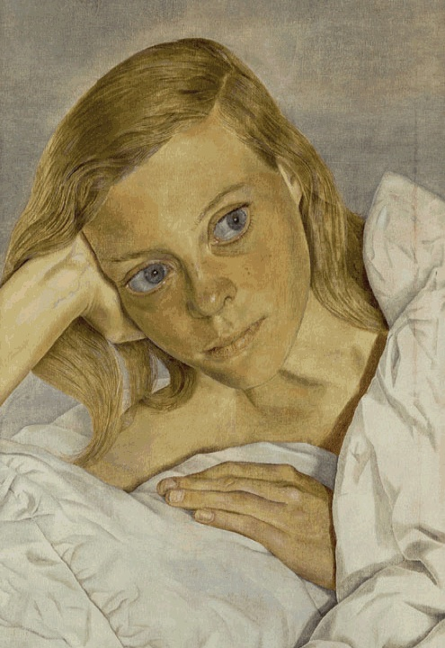 Lucian Freud, Girl in Bed, 1952, oil on canvas, Private Collection (©Lucian Freu