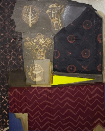 Lauren Luloff, Table with Lemon Wedge, oil, bleached bedsheets and fabric on mus