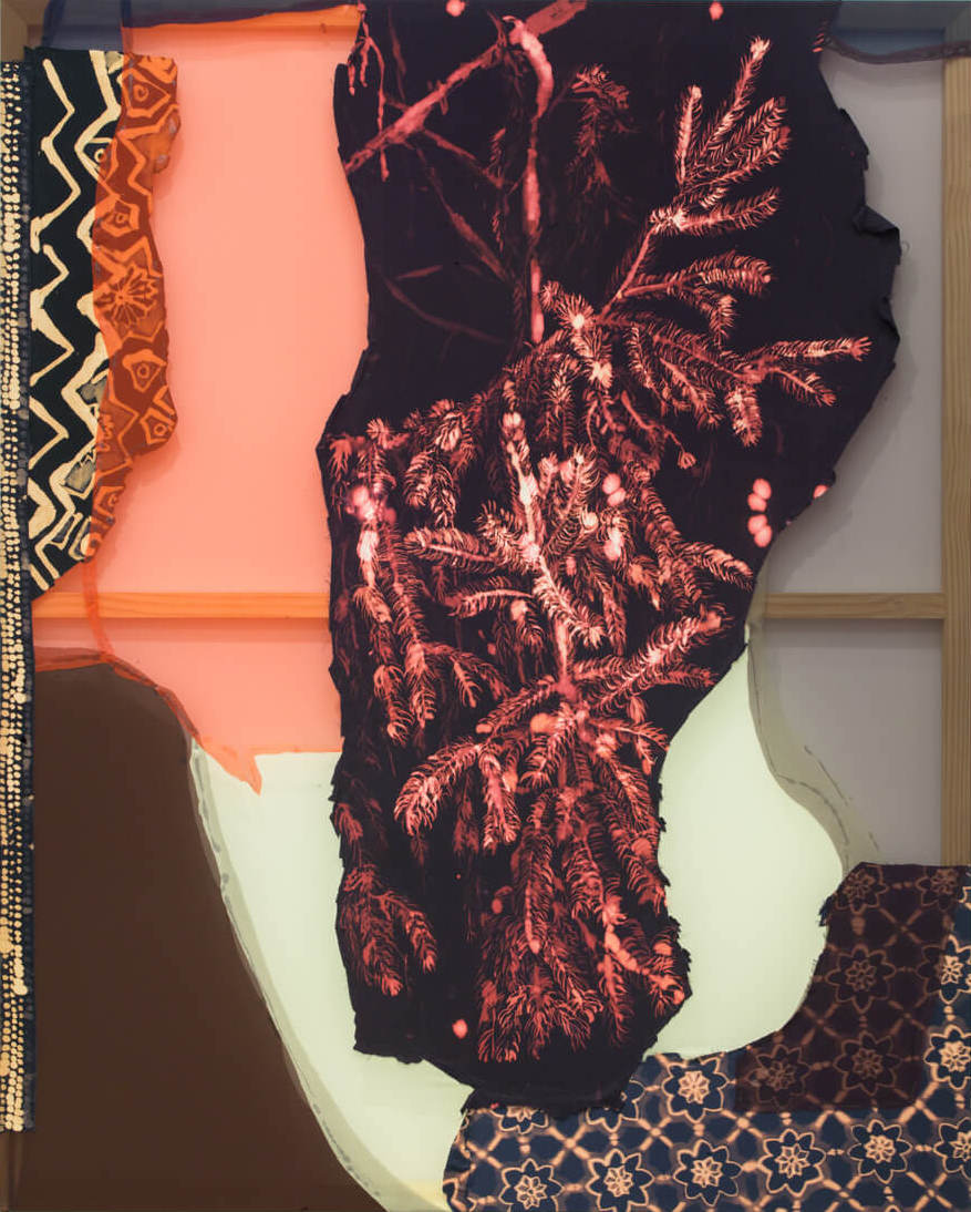 Lauren Luloff, Pine, Magenta and Black, 2016, bleached bedsheets and fabric, 66 x 53 inches (courtesy of the artist and Ceysson & Bénétière)