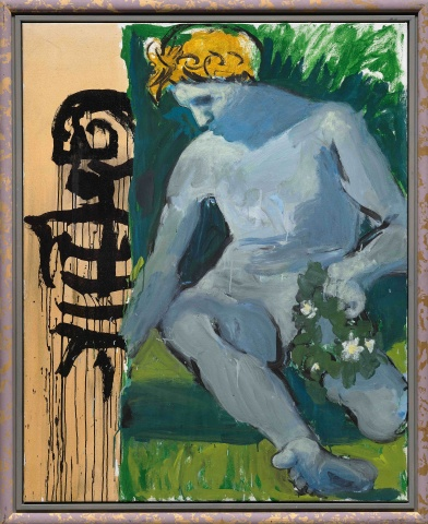 Markus Lüpertz, Der Grosse Narziss (The Great Narcissus), 2016, Mixed media on canvas in artist's frame, 63 3/4 x 51 1/4 inches, 162 x 130 cm (courtesy of Michael Werner Gallery)