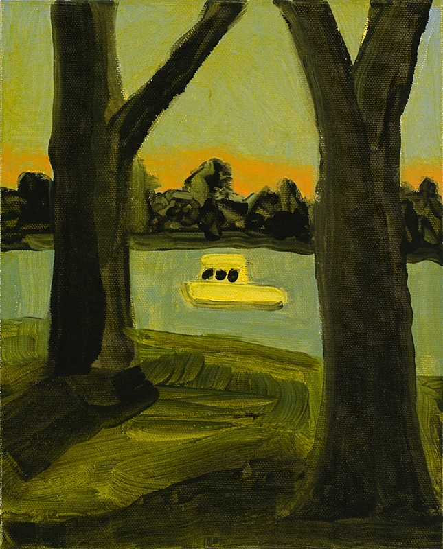 Kathryn Lynch, Boat Between Trees, 2013, oil on canvas, 10 x 8 inches (courtesy