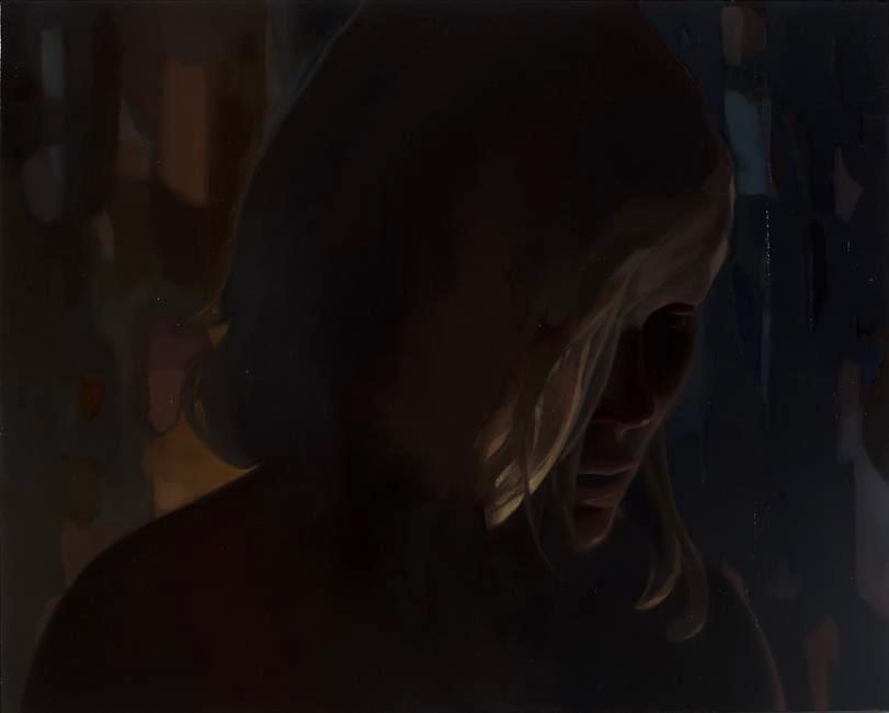 Monica Majoli, Black Mirror (Amy), 2012, oil on panel, 15 7/8 x 19 7/8 inches (p