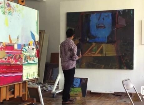 Sangram Majumdar in studio (video capture from Guernica Magazine)