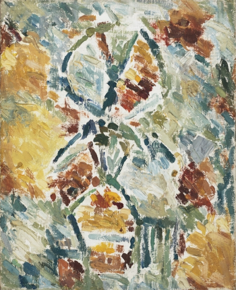 Ernest Mancoba, Untitled (4), 1958, oil on canvas, 16.5 x 13 inches (courtesy of the Estate of Ernest Mancoba and Galerie Mikael Andersen, Copenhagen)