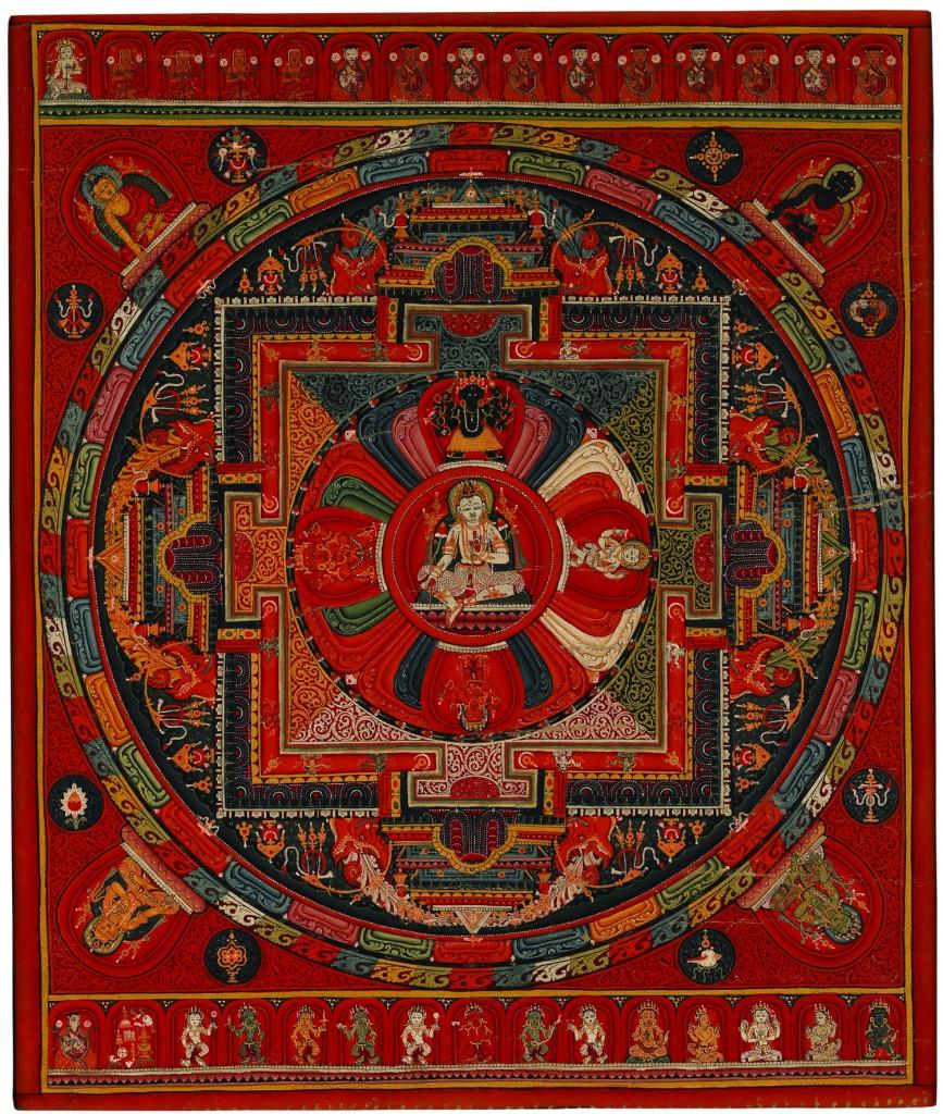Amoghapāśa Five-deity Mandala, sixteenth century, Nepal, pigments on cloth, 13 3