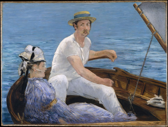 Edouard Manet, Boating, 1874, oil on canvas, 38 1/4 x 51 1/4 inches (Metropolita