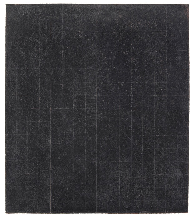 Brice Marden, Patent Leather Valentine,1968, Graphite, beeswax, and red pastel c
