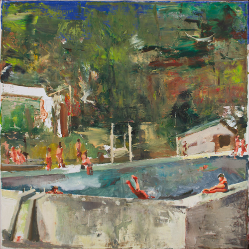 Marius Bercea, Untitled (swimming pool), 2011, Oil on canvas, 19.69 x 19.69 inch