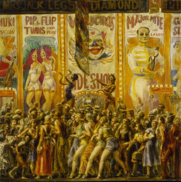 Reginald Marsh, Pip and Flip, 1932, Egg tempera on paper mounted on canvas, 48 1