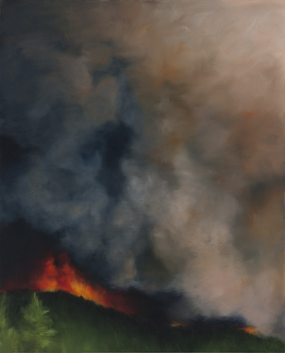 Karen Marston, Firestorm, 2012 Oil on Linen, 54 x 44 inches (courtesy of Storefr