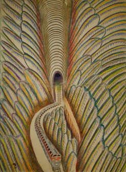 Martín Ramírez, Untitled (Feathered Train), c. 1952-53, graphite, tempera, and c