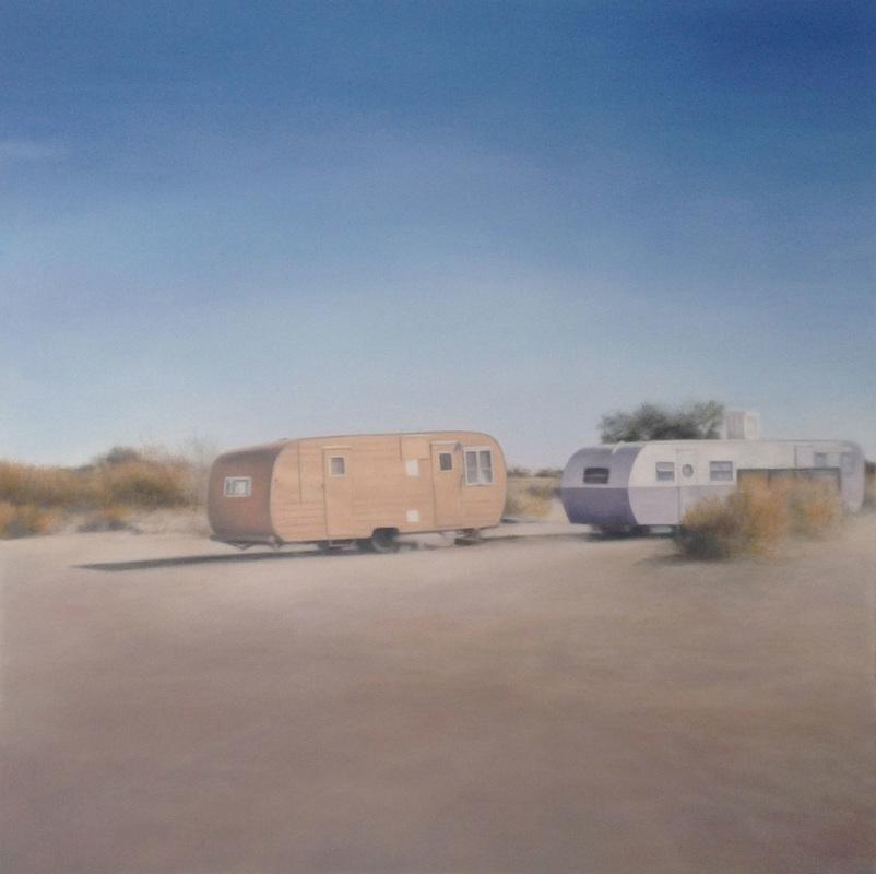 Deborah Martin, Slab City Trailers, 2014, oil on canvas, 48 x 48 inches (courtes
