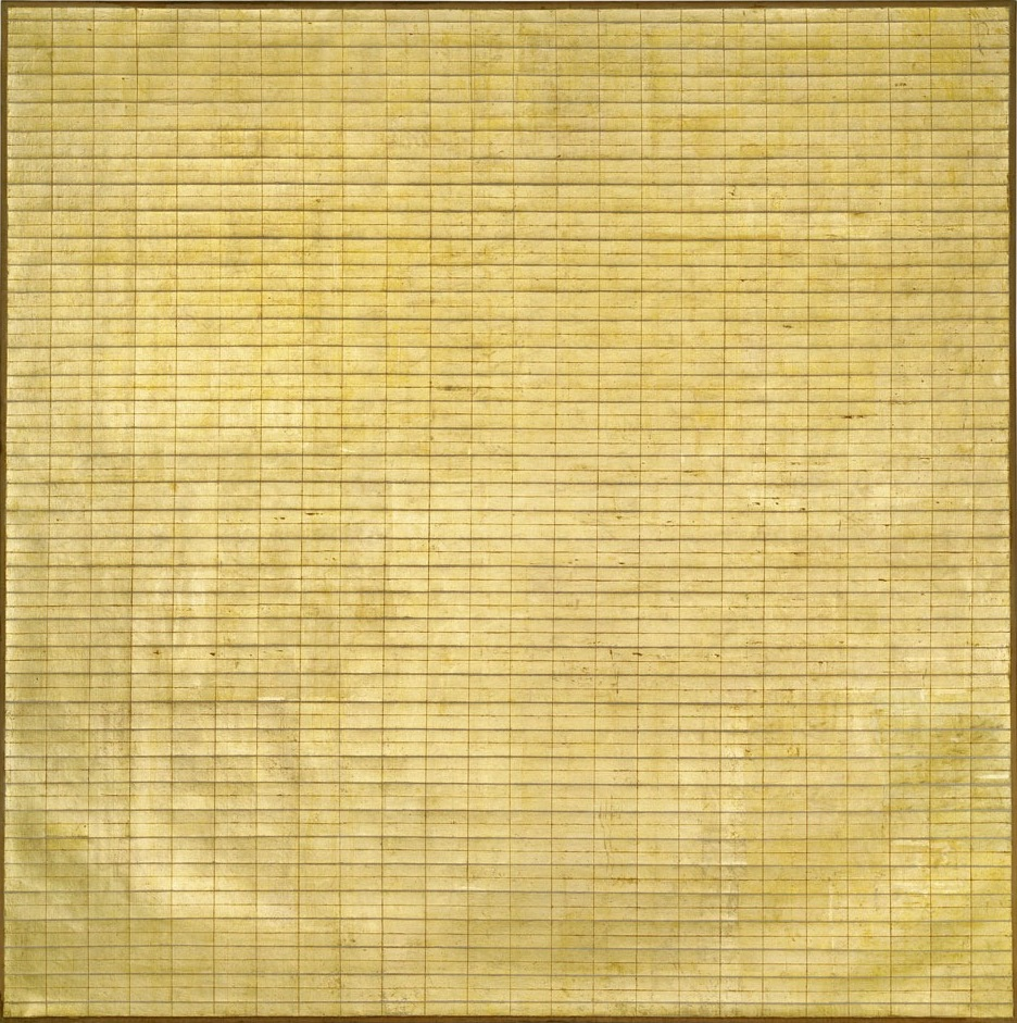 Agnes Martin, Friendship, 1963, incised gold leaf and gesso on canvas (Museum of