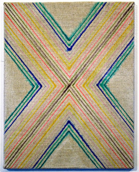 Jeffrey Scott Mathews, Untitled (/x\), 2010, marker on linen, 11 x 14 inches (co