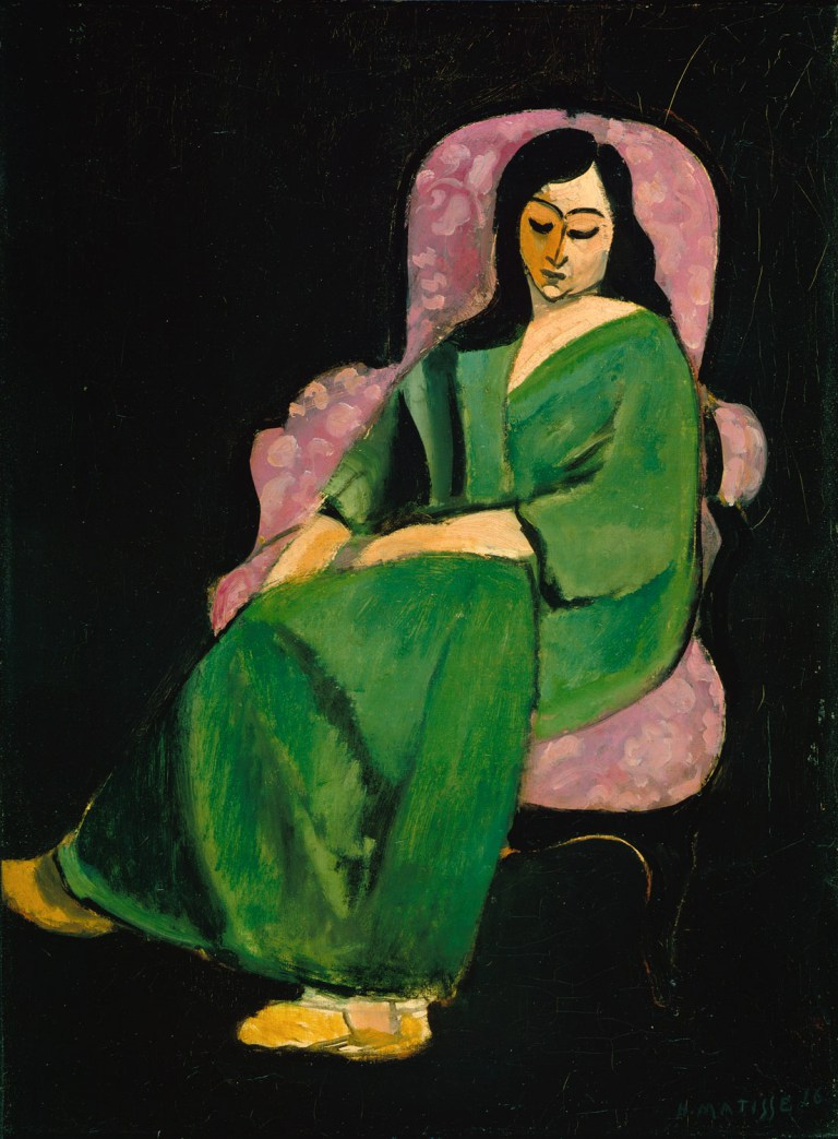 Henri Matisse, Laurette in Green Robe (Black Background), 1916, oil on canvas, 28.75 x 21.5 inches (Metropolitan Museum of Art)