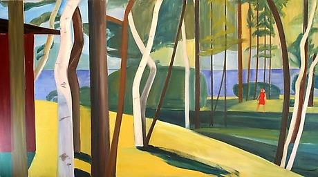 Louisa Matthiasdottir, Maine Landscape, c.1976, oil on canvas, 60 x 108 inches (