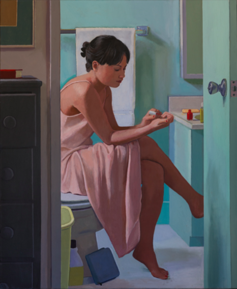 Dan McCleary, Woman Painting Her Nails, 2004, oil on canvas, 46 1/2 x 40 1/2 inc