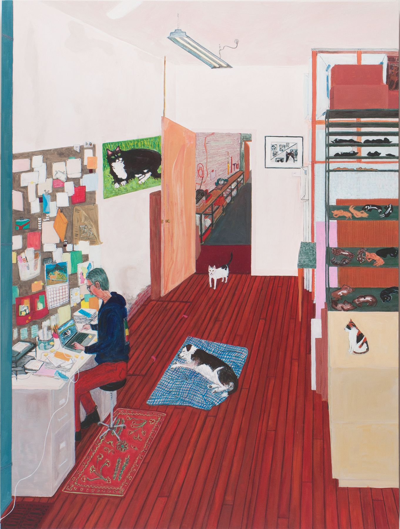 Sarah McEneaney, Office Work, 2016, acrylic on wood, 48 x 26 inches (courtesy of Locks Gallery)