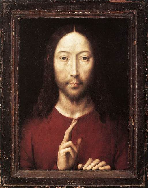Hans Memling, Christ Blessing, 1481 oil on panel, 13 1/8 × 9 7/8 inches (Museum