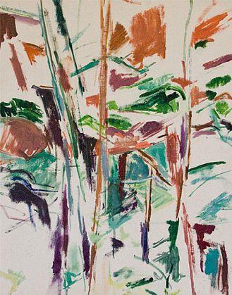 Mercedes Matter, Deer Isle, Maine, c. 1958, Oil on artist board, 20 x 16 inches