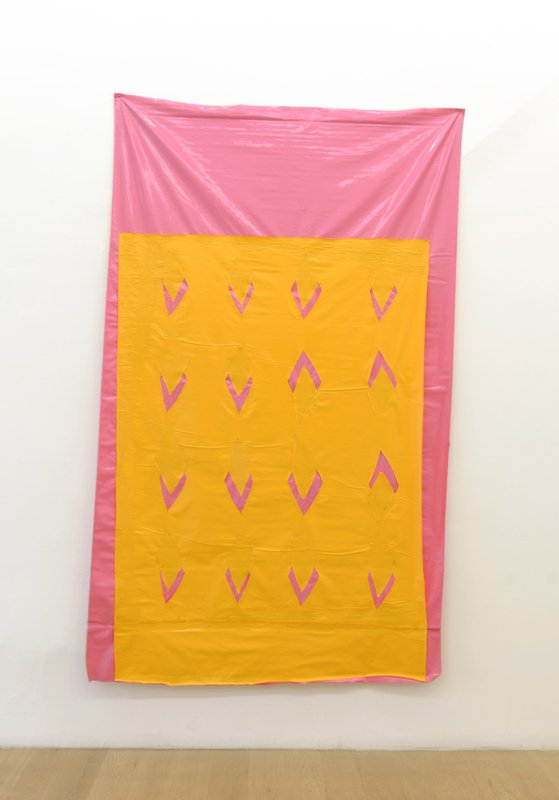 Jean-Michel Meurice, Vinyle, 1976, yellow and pink vinyl collage, 98 x 59 inches