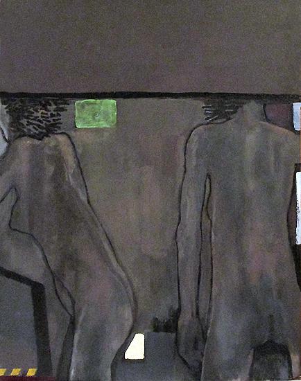 Thomas Micchelli, 2 Bacchantes (bent & straight), 2015, oil on panel, 24 x 18 1/