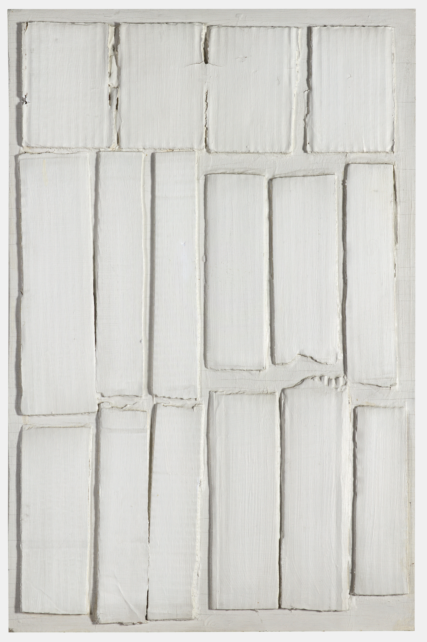 Eleanore Mikus, White Relief, 1962, white oil paint on corrugated cardboard, 24 1/8 X 15 1/2 inches (courtesy of Craig F. Starr Gallery)