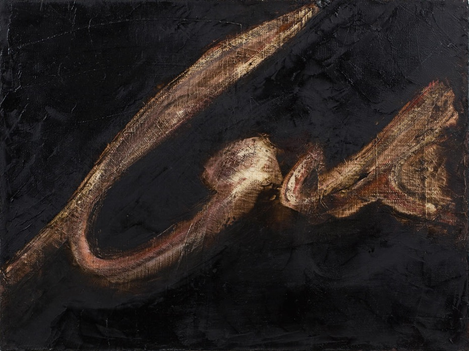 Mira Schor, Lack, 1997, oil on linen, 12 x 16 inches (courtesy Some Walls)