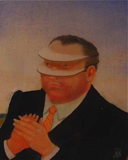 David Miretsky, Man Who Can See Only Horizontally, oil on panel, 3 3/4 x 5 inche