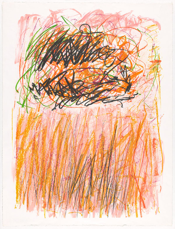 Joan Mitchell, Flower I, 1981, from the 'Bedford' series, colour lithograph printed from eight aluminium plates, crayon, tusche (National Gallery of Australia, Canberra. Gift of Kenneth Tyler, 2002 © Estate of Joan Mitchell)