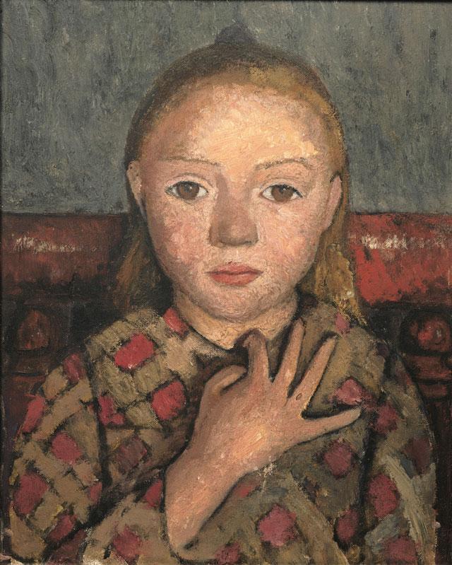 Paula Modersohn-Becker, Portrait de jeune fille, les doigts écartés devant la poitrine, c. 1905, tempera on canvas, 41 x 33 cm (Von der Heydt-Museum, Wuppertal, © Paula-Modersohn-Becker-Stiftung, Brême)