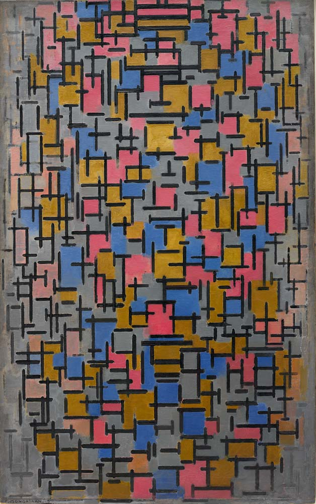 Piet Mondrian, Compositie, 1916, oil on canvas, with wood strip nailed to the bo
