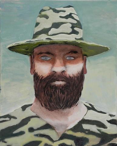 Jason Mones, Heads Series (Camo w Beard) 2016, oil on canvas, 18 x 24 inches (courtesy of the artist)