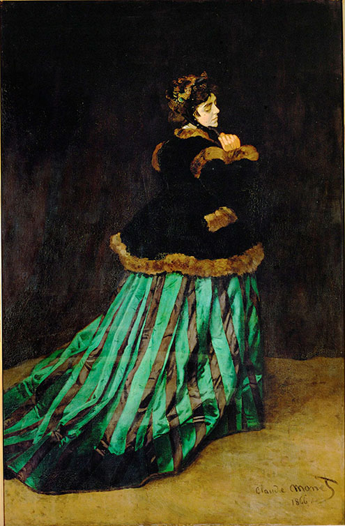 Claude Monet, Camille, 1866, oil on canvas, 90 15/16 x 59 1/2 inches (Kunsthalle