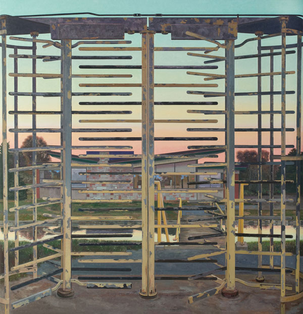 John Moore, Turnstile, 2012, oil on canvas, 70 × 68 inches (photo: Will Brown, c