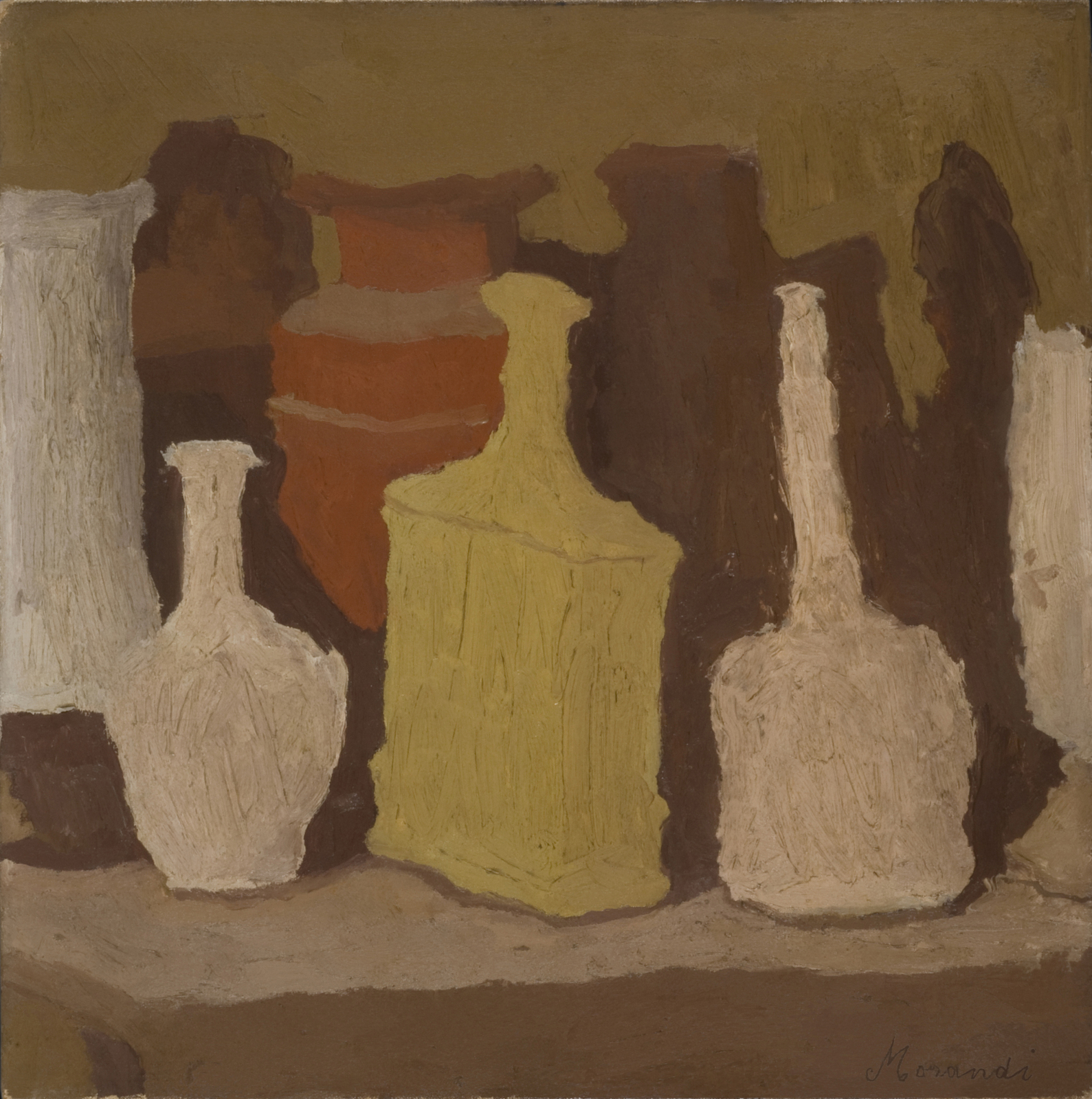 Giorgio Morandi, Still Life, 1931, oil on canvas, 16 1/2 x 16 1/2 inches (Privat