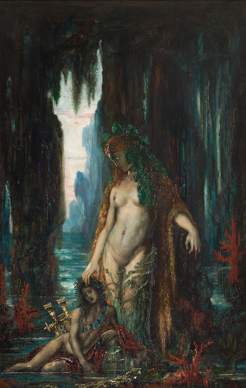 Gustave Moreau, Le Poète et La Sirène, 1893, oil on canvas, 38.25 x 24.5 inches