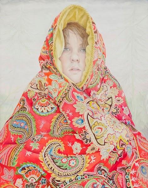 Rebecca Morgan, Depression Blanket, 2014, oil and graphite on panel, 28 x 22 inc