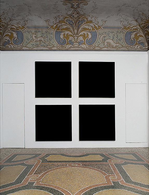 Installation view: Olivier Mosset exhibition at Indipendenza Studio in Rome (201