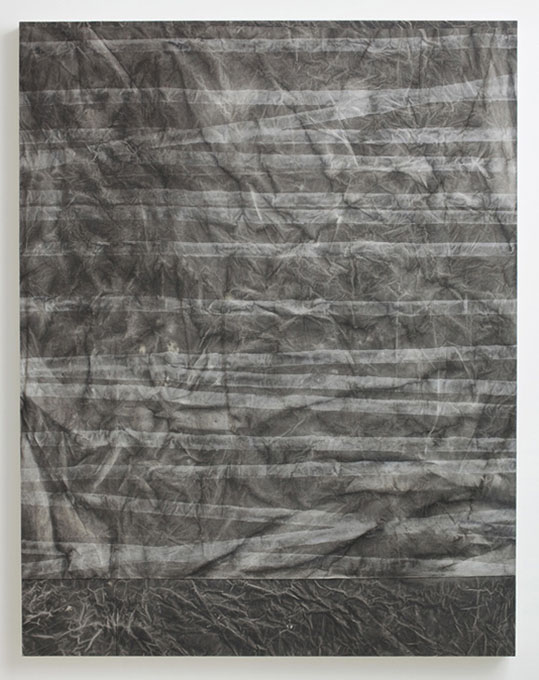Sam Moyer, SlackLiner lll, 2011, Ink and bleach on canvas mounted to wood panel,