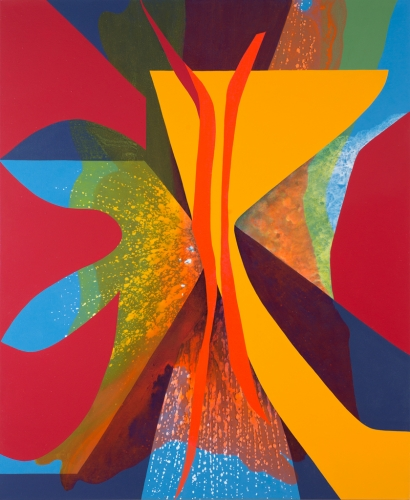 Carrie Moyer, Yes Rays (aka Sisters' Stamen), 2013, acrylic on canvas, 66 x 54 i
