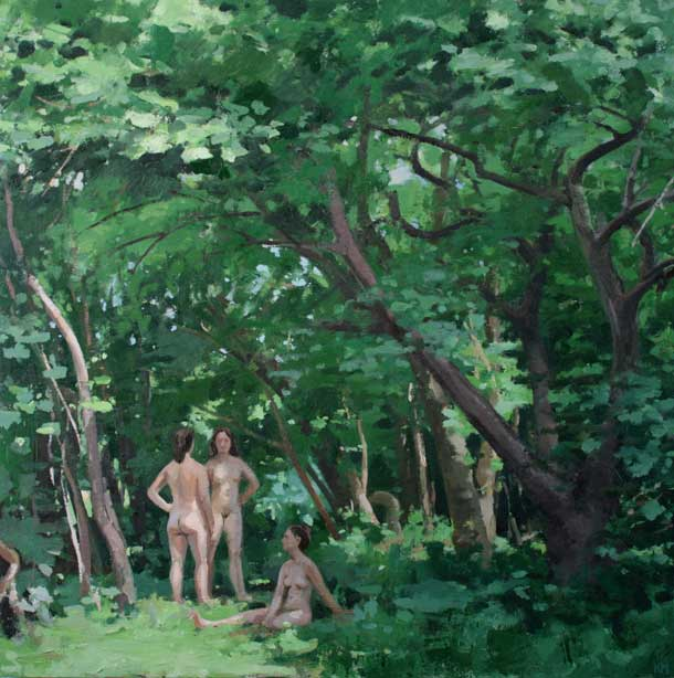 Kurt Moyer, Bathers Under the Apple Tree, 30 × 30 inches, oil on linen, 2013 (co