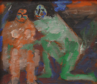Jan Müller, Untitled (Whispering Witches) n.d.  oil on wood  10 1/2 x 12 1/4 inc
