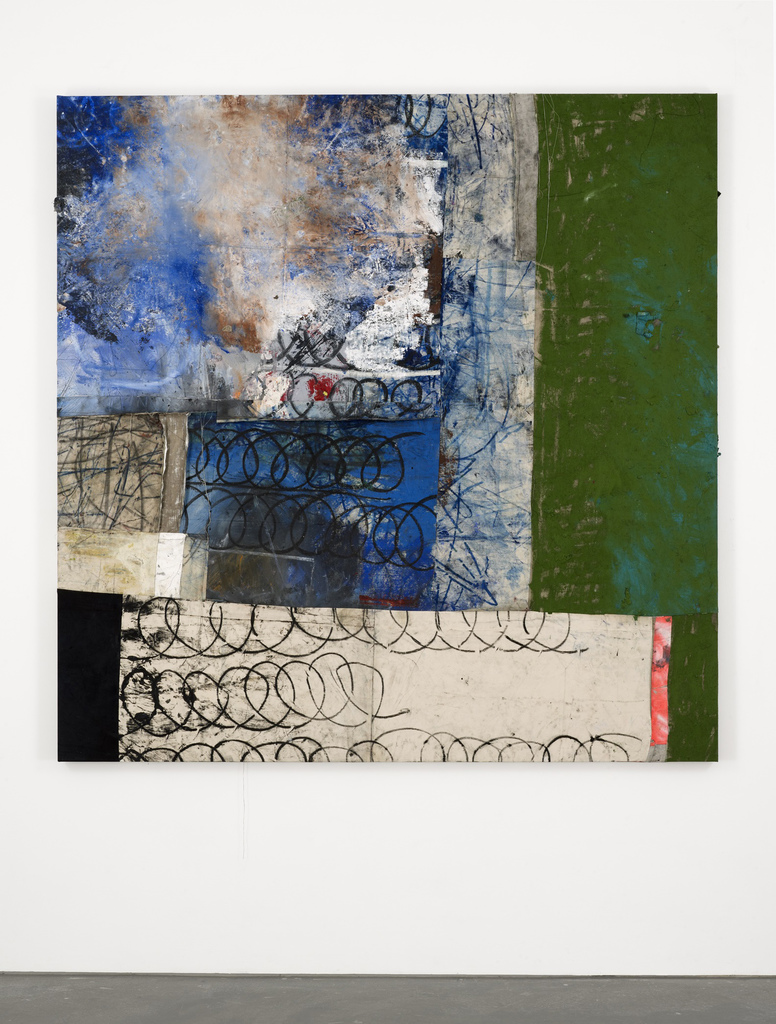 Oscar Murillo, 7+, 2013–14, oil, oil stick, spray, and graphite on canvas and li