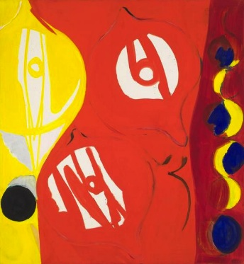 Ernst Wilhelm Nay, Red in Red II, 1965, oil on canvas, 63 3/4 x 59 inches (court