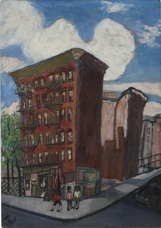 Alice Neel, Building in Harlem, ca. 1945, oil on canvas, 34 × 24 1/8 inche (© The Estate of Alice Neel)